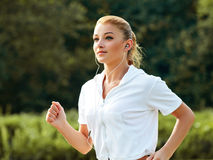 Athletic Runner Training in a park for Marathon. Stock Photography