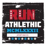 Athletic running sport university college logo, badge, emblem. For apparel Stock Photo
