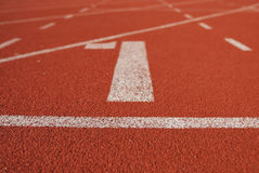 Athletic running track in stadium Royalty Free Stock Photo