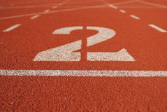 Athletic running track in stadium Royalty Free Stock Image