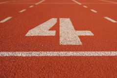 Athletic running track in stadium Stock Image