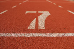 Athletic running track in stadium Royalty Free Stock Images