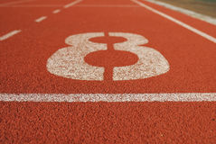 Athletic running track in stadium Stock Photo