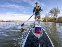 Stand up paddling on lake royalty free stock images