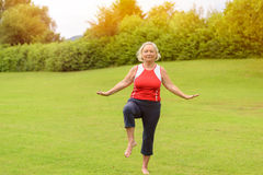 Athletic senior woman performing balance exercises. Calm barefoot athletic senior woman performing yoga balancing exercises on one leg at outdoor park with green Stock Photo