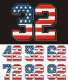 Athletic set Number america flag  texture images Stock Image