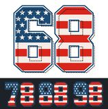 Athletic Set numbers america flag textured. Vector image Royalty Free Stock Photos