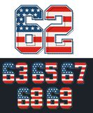 Athletic Set numbers america flag textured. Vector image Royalty Free Stock Images