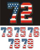 Athletic Set numbers america flag textured. Vector image Royalty Free Stock Photo