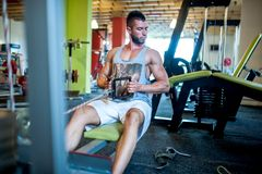 Athletic sexy adult model working out at gym Stock Photo