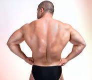Athletic man's back. Studio shot royalty free stock image