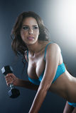 Athletic sexy young lady doing workout Stock Photos