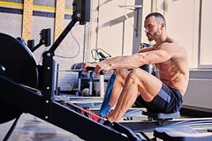 A man doing workouts on a back with power exercise machine. Athletic shirtless male doing workouts on a back with power exercise machine in a gym club Stock Photography