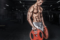 Athletic shirtless young sports man - fitness model holds the barbell in gym. Copy space fore your text. Athletic shirtless young sports man - fitness model Stock Images