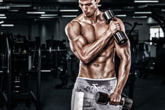 Athletic shirtless young sports man - fitness model holds the dumbbell in gym. Copy space fore your text. Athletic shirtless young sports man - fitness model Royalty Free Stock Images