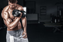 Athletic shirtless young sports man - fitness model holds the dumbbell in gym. Copy space fore your text. Athletic shirtless young sports man - fitness model Stock Photography
