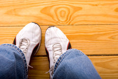 Athletic Shoes on Floor Royalty Free Stock Images