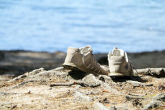 Athletic shoes (sneakers) left on the root of a pine / on the sand. Beach, sand. Stock Images