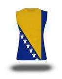 Athletic sleeveless shirt with Bosnia & Herzegovina flag on white background and shadow Royalty Free Stock Photo