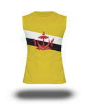 Athletic sleeveless shirt with Brunei Darussalam flag on white background and shadow Stock Image