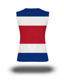 Athletic sleeveless shirt with Costa Rica flag on white background and shadow Stock Photos