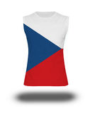 Athletic sleeveless shirt with Czech Republic flag on white background and shadow Royalty Free Stock Photos