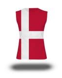 Athletic sleeveless shirt with Denmark flag on white background Stock Photography