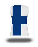 Athletic sleeveless shirt with Finland flag on white background and shadow Stock Photo