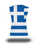 Athletic sleeveless shirt with Greece flag on white background and shadow Stock Images