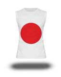 Athletic sleeveless shirt with Japan flag on white background and shadow Royalty Free Stock Photos