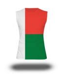 Athletic sleeveless shirt with Madagascar flag on white background and shadow Stock Image