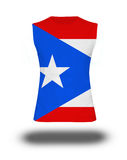 Athletic sleeveless shirt with Puerto Rico flag on white background and shadow Stock Photography