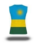 Athletic sleeveless shirt with Rwanda  flag on white background and shadow Stock Photos