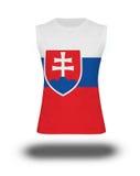 Athletic sleeveless shirt with Slovakia flag on white background and shadow Stock Image