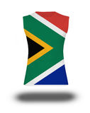 Athletic sleeveless shirt withSouth Africa  flag on white background and shadow Royalty Free Stock Images