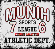 Athletic sport Munih typography, t-shirt graphics, vectors Stock Image