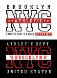 Athletic sport NYC Brooklyn typography for t shirt print Royalty Free Stock Image
