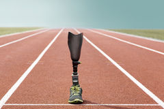 Athletic sports prosthesis standing track and field Stock Photos