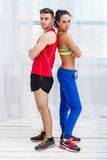 Athletic sporty couple friends woman and man Royalty Free Stock Photo