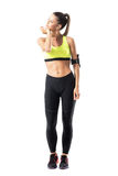 Athletic sporty female jogger in sportswear warm up stretching neck muscles Royalty Free Stock Photos