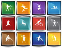 Athletic Square Buttons stock illustration