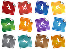 Athletic Square Sticker Buttons. Collection of 12 sports related sticker buttons in a variety of colors Stock Photos