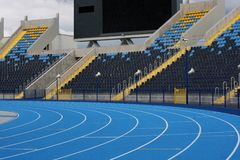 Athletic stadium. Racetrack and bleachers in athletic stadium in Bydgoszcz Stock Photos