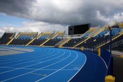 Athletic stadium. Racetrack and bleachers in athletic stadium in Bydgoszcz Stock Images