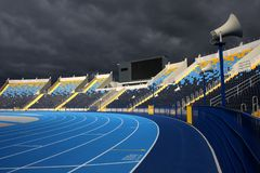 Athletic stadium. Racetrack and bleachers in athletic stadium in Bydgoszcz Royalty Free Stock Photos