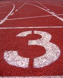 Athletic Surface Markings -- Number Three Royalty Free Stock Photos