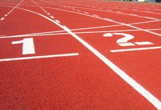 Athletic Surface Markings - One and Two. Useful for competition and success concepts royalty free stock photo