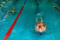 Athletic swimmers in action Stock Photography