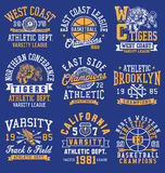 Athletic themed graphics, emblems and layout set.  Royalty Free Illustration