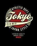 Athletic tokyo t-shirt graphic. Typography design, vector iamge Royalty Free Stock Photos